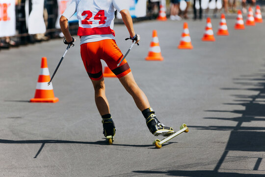Back Athlete Skier Roller Skiing Race On Asphalt With Traffic Cone