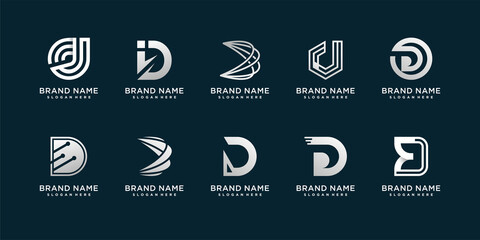 Fototapeta Set of letter D logo with modern creative concept for company or person Premium Vector obraz