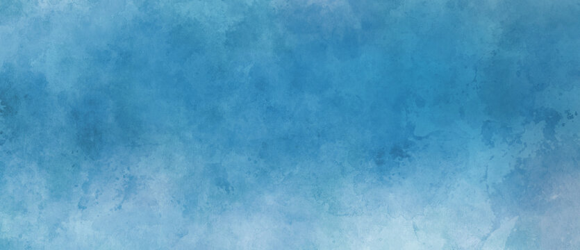 Blue background with grunge texture, watercolor painted mottled blue background with vintage marbled textured design on cloudy sky blue banner, distressed old antique parchment paper