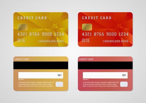 複数のクレジットカードがセットになったイラスト素材