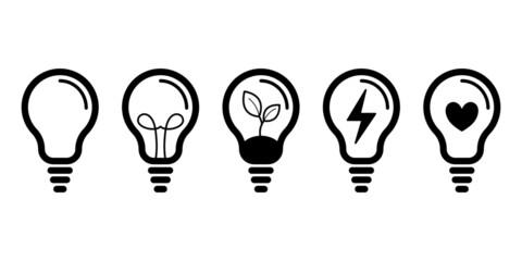 Fototapeta Żarówka - zestaw ikon do projektów. Kontury żarówek. Symbol idei, rozwiązania, pomysły, radzenia sobie z problemem. Koncept lampy, światła. obraz