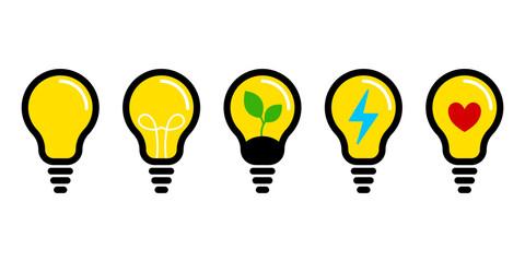 Fototapeta Żarówka - zestaw ikon do projektów. Kontury z żółtym wypełnieniem - świecące żarówki. Symbol idei, rozwiązania, pomysłu, radzenia sobie z problemem. Koncept lampy, światła. obraz
