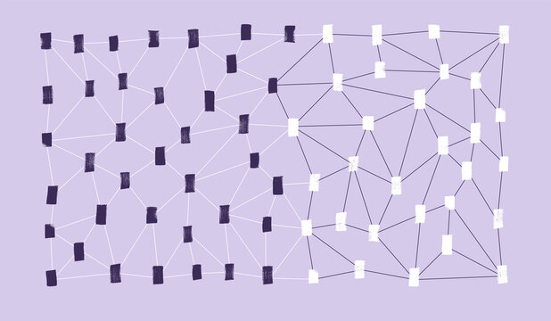 Abstract network on grey with different color nodes