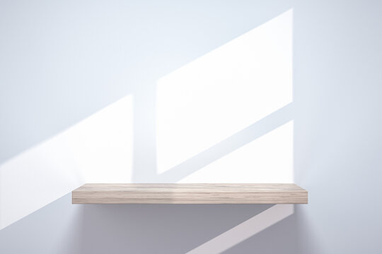 empty shelf on wood table showcase and wall background