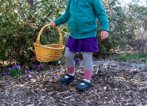 Girl with Easter Basket in Back Yard