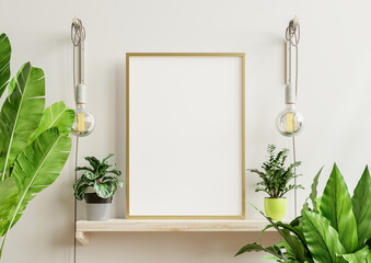 Interior poster mockup with vertical wooden frame in home interior background.