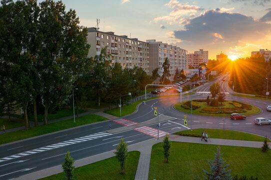 poprad, slovakia - AUG 26, 2016: cityscape of slovakian town in tatra mountans at sunset. popular travel destination