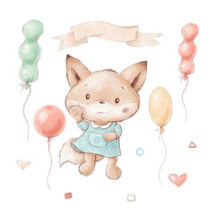 Set of cute cartoon fox with balloons and flowers
