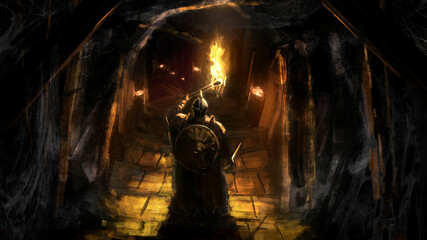Obraz A knight in plate armor, a helmet with a sword and a shield holds a burning torch in his hand, standing at the entrance to a sinister dungeon , steps lead to the dark depths of the cave. 2d art - fototapety do salonu