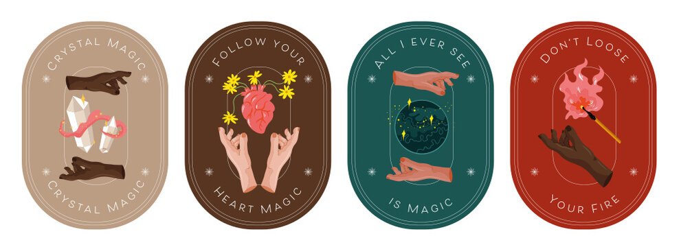 Collection. Vector Illustration Icon, Card, Banner. Ritualistic, Wicca, witch art with elements and inspirational quotes.