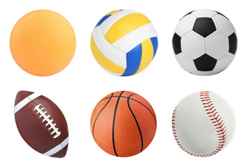 Set with different sport balls on white background