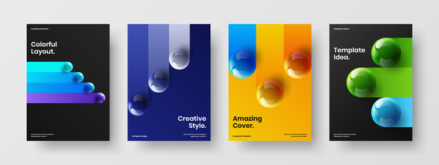 Fototapeta Modern 3D balls handbill template set. Clean corporate cover vector design concept collection. obraz