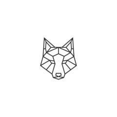 geometric wolf head vector