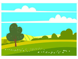 Lovely Countryside landscape spring tree green hills fields, nature, bright color blue sky. Spring, summer country scenery panorama agriculture, farming. Vector illustration cartoon style
