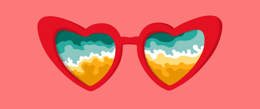 Vector Illustration of glasses with beach and mountains. 70s peace sign. Seventies sunglasses. Stylish, cool, love. Hippie style. Retro love.
