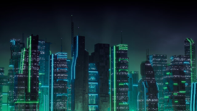 Sci-fi Metropolis with Green and Blue Neon lights. Night scene with Visionary Skyscrapers.