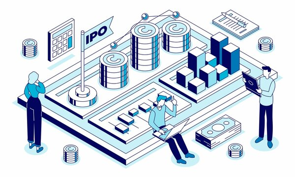Isometric vector illustration of IPO - public offering in which shares of a company