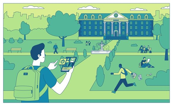 Return to college flat vector illustration to college