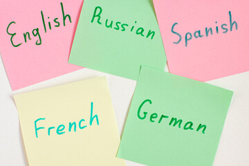 Top view flat lay of different languages which written on the reminder notepaper of different...