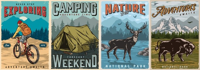 Camping and summer adventure posters