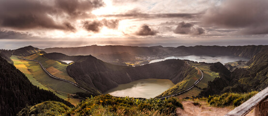 Drone shots of Sete Cidades during sunset