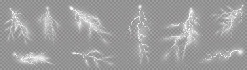 Fototapeta Set of zippers, thunderstorm and effect lightning. obraz