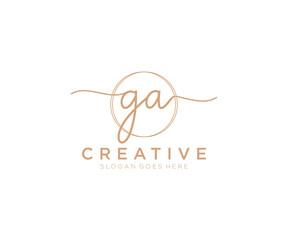 Fototapeta initial GA Feminine logo beauty monogram and elegant logo design, handwriting logo of initial signature, wedding, fashion, floral and botanical with creative template. obraz
