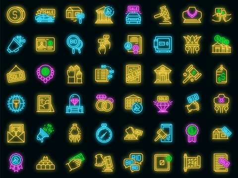Auction icons set. Outline set of auction vector icons neon color on black
