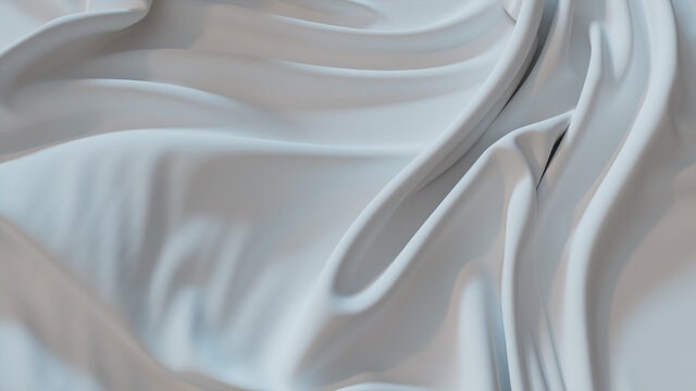 White Fabric with Wrinkles and Folds. Luxury Surface Background.