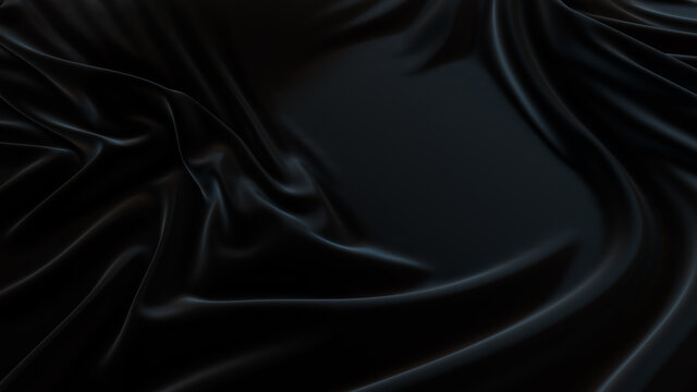 Black Textile Background with Ripples. Smooth Surface Texture.