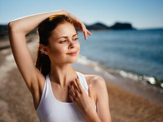 woman swimwear beach sun charm tan