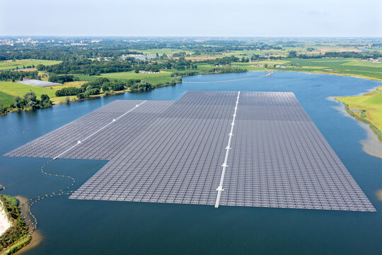 Aerial from solar panels on a lake in the Netherlands