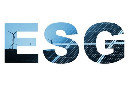 ESG - Environment Social Governance - Concept Piece for Worldwide Business ESG strategy creation. Promoting Clean renewable energy and sustainable resources to cut carbon, pollution and climate change