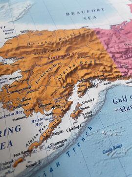 Close up photo of Alaska - USA map