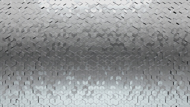 Diamond Shaped, Polished Wall background with tiles. 3D, tile Wallpaper with Silver, Luxurious blocks. 3D Render