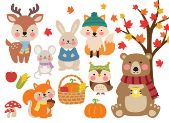 Cute fall woodland animals including a bear, deer, fox, mouse, rabbit, squirrel, and owl in sweater, scarves and hats vector illustration. Forest animals in autumn illustration.