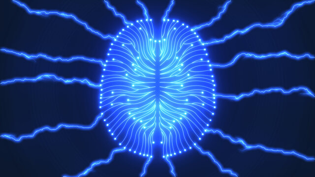 Glowing blue computer brain with lightning bolts of electricity illustrating artificial intelligence concepts