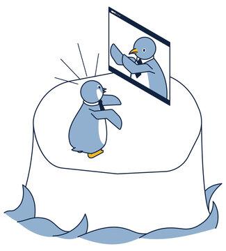オンラインで打ち合わせをするペンギンのアイソメ