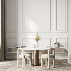Living room interior with table, four chairs, books and crockery