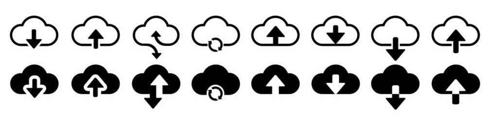 Fototapeta Set cloud download and upload icons. Flat sign for mobile and web design. Cloud with arrow up and down simple outline and filled sign - stock vector obraz