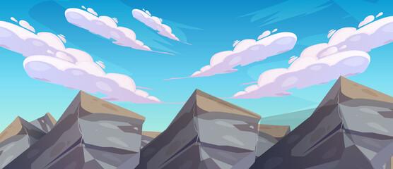 Summer on the beach. rocks and sunshine all around. Cartoon vector illustration. Summer vacation on the sea beach background vector art design