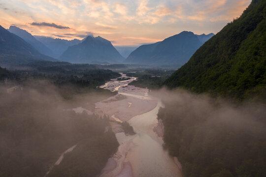 Morning mist above soca valley