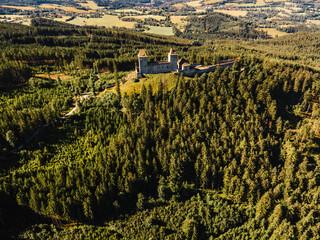 Kasperk Castle in a sunny autumn day. Pusty Hradek viewpoint. South Bohemia, Sumava. Czech Republic
