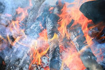 fire coals background burns the fire tree firewood