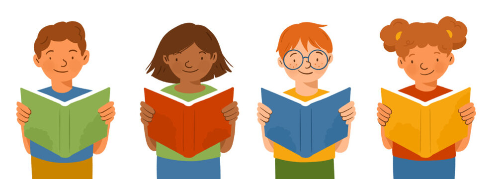 Children reading books, elementary students learning to read, kids from different ethnicities