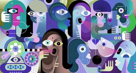Obraz Ten numbered people talking about latest news. Modern art graphic illustration. - fototapety do salonu