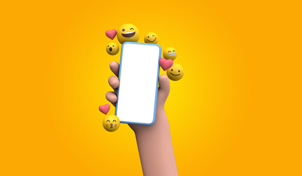 Person holding a smartphone with emoji online social media icons. 3D Rendering
