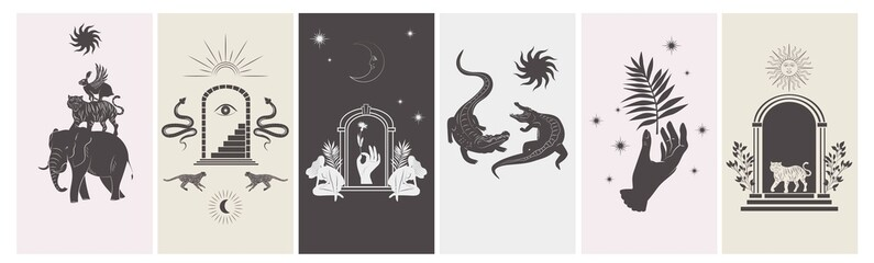 Obraz Collection of stories design template with astrology and mystical elements. Editable vector illustration. - fototapety do salonu