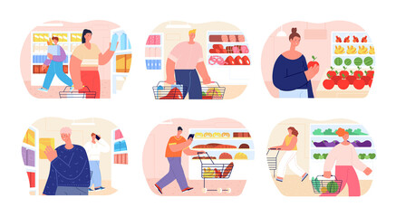 People in grocery store. Shopper buy bread, food products choice on market. Flat fresh fruits in supermarket, customer near shelves utter vector scenes