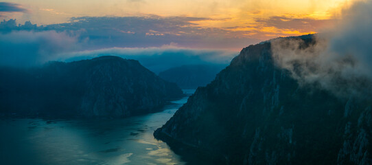 Iron Gates of the Danube River Between Serbia and Romania